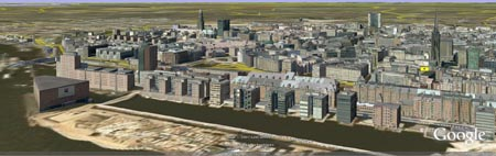 Hamburg Skyline via Google Earth