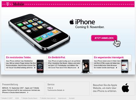 T-Mobile iPhone Seite